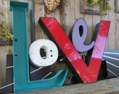 Huge Vintage Marquee Sign Letter Capital 'V': Very Large Red Neon Channel Advertising Wall Hanging Intial with INTACT LEDs