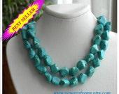 SALE-CHUNKY MEGAN-best seller, blue turquoise necklace, Megan Fox inspired, statement, gift idea, multi strand, big, bold, beaded, handmade