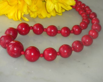 Red necklace statement, big bold, graduated round red turquoise, chunky, gift idea, natural gemstones, handmade