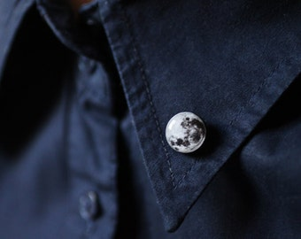Full Moon collar brooch - Space collar pin - shirt accessory