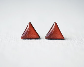 Geometric Triangle Copper Stud Earrings - Simple Everyday Modern Studs BUY 2 GET 1 FREE