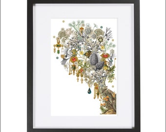 Jewel Tree  / Archival Collage Art Print / Surreal!