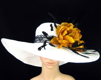 WHITE Kentucky Derby Hat , Derby Hat , Wedding Hat, Wide Brim Hat,Church Hat Tea Party Ascot with golden yellow flower ,black lace band
