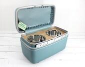 Custom Order - Upcycled Vintage Train Case Pet Feeder