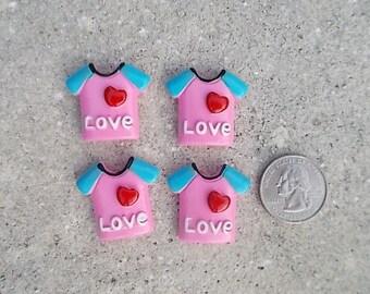 Love Shirt Flatback Cabochon - Set of 4