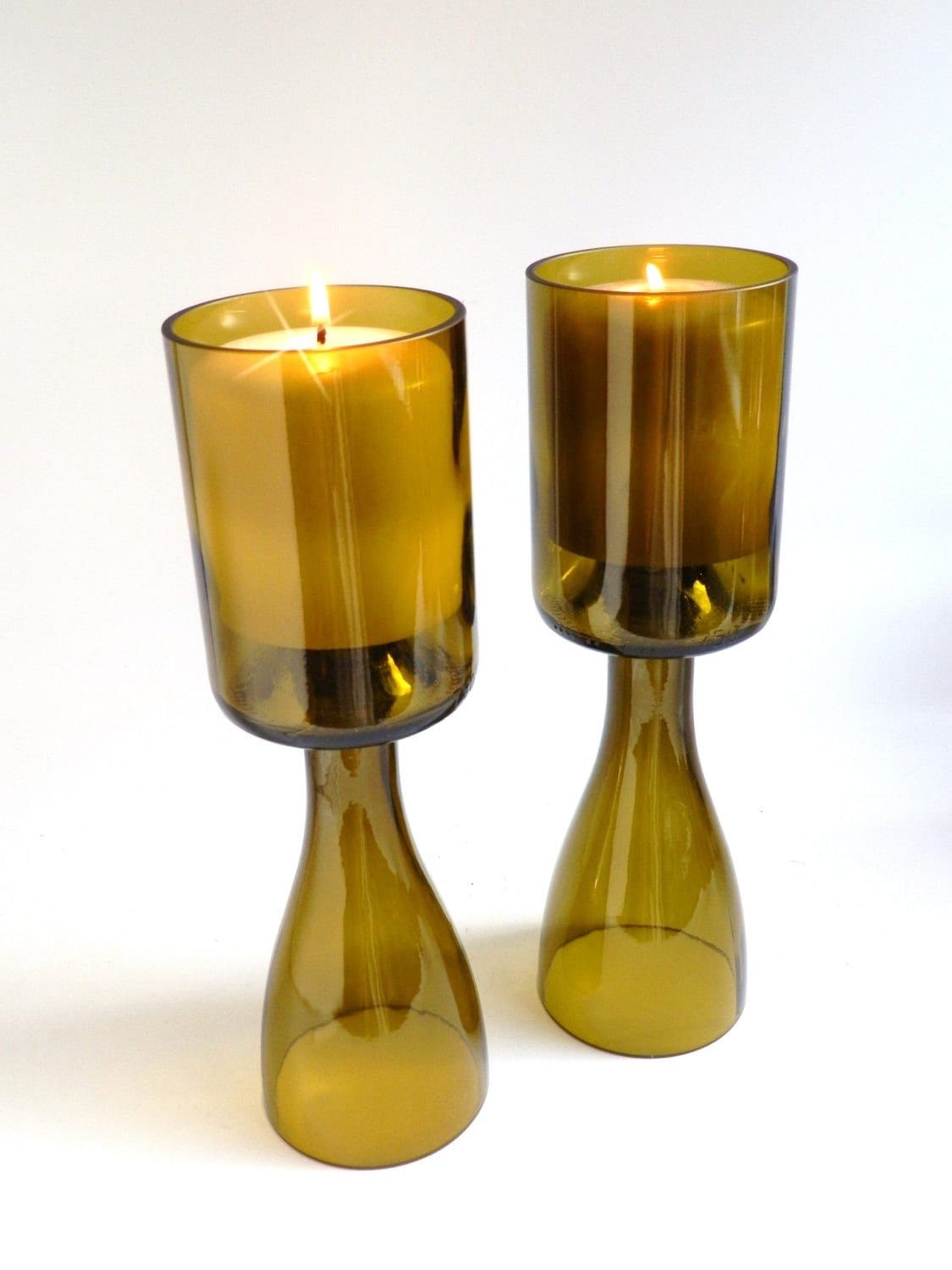 Gold glass wine bottle candle holder chalice centerpieces for How to make candle holders out of wine bottles