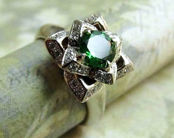 Custom Order For Nick, Lotus Ring paved with Diamonds and Green Chrome Diopside Gemstone in 14k White Gold, Handmade, By James Christian