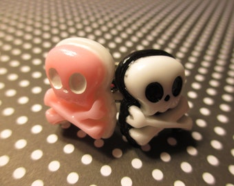 Skull and Crossbone Rings - set of 2 - Pink Black n White - Adjustable Band Ring