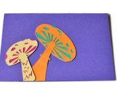 Alice in Wonderland Hand Cut Toadstool Mushroom Psychadelic Handcardved Note Card