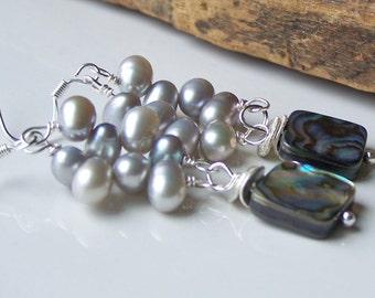 50% OFF Etsy, Etsy Jewelry, Beaded Earrings, Freshwater Pearl Earrings, Abalone Shell and Pearl Earrings