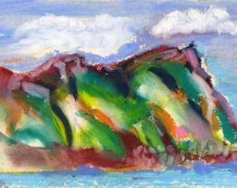 Wild Clouds flying over False Bay Mountain to the sea - vibrant Oil Pastel drawing. Limited Edition print one of only 25 FREE world postage