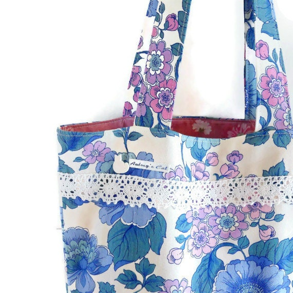 Vintage Fabric  Shopper / Tote Bag  70s Pink and Blue Floral