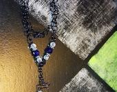 Liquidation SALE Cobalt  Blue & Clear crystal necklace