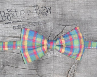 Easter Egg plaid little boy bow tie - photo prop, wedding, ring bearer, accessory