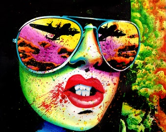 Signed Art Print Punk Rock Pop Art Horror Splatter Portrait - 5x7, 8x10, or 10.5 x 13.75 inches - Here Come the Bombs by Carissa Rose