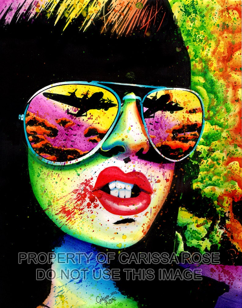 Signed Art Print Punk Rock Pop Art Horror Splatter Portrait