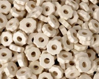 Ceramic-7mm Ridged Disc Beads-Off White-Quantity 50
