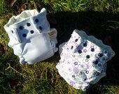 medium set of 2 organic cotton fitted diapers lavender and sweet jane purple print