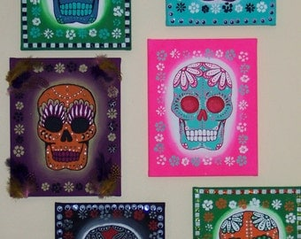 2 Original Painting canvasses of Dia de los Muertos (Day of the Dead) skull paintings.