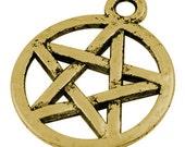 20 Antique Golden Pentagram Charms 20x17mm