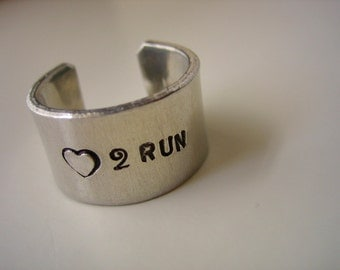 Running Ring - Love 2 Run - Aluminum Stamped 1/2 inch wide Ring Band - Marathon Runner - Jogger Gift - Adjustable Ring Band - Runners Gift