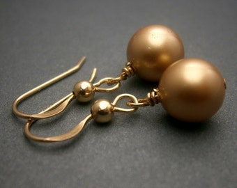 Gold Pearl Earrings In 14K Gold Filled Vintage Gold Pearls