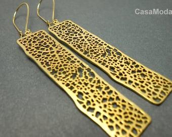 Long Gold Earrings With Rectangular Gold Pendant