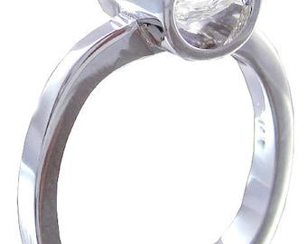 18k white gold emerald moissanite engagement ring semi tension set 1.50ct