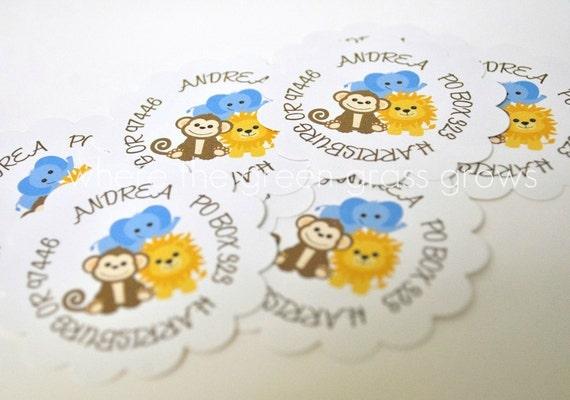 Monkey Lion Elephant Return Address Labels