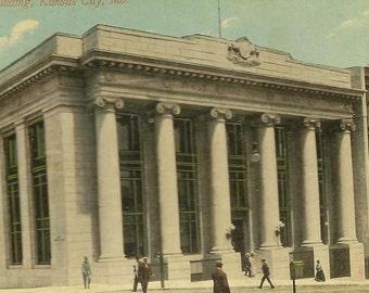 First National Bank Building KANSAS CITY MO vintage postcard - Wonderful architecture on Antique Postcard