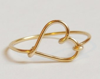 Heart ring, gold colored wire, love ring, friendship, custom size,