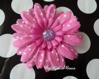 Small Pink and White Swiss Dot Daisy Hair Clip