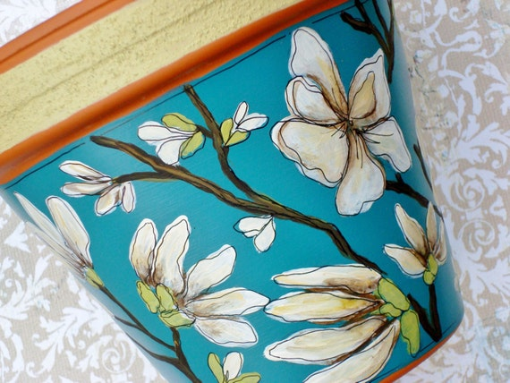 """Hand Painted Flower Pot-  6 Inch Terracotta Pot """"Tranquility"""" Housewarming, Birthday, Wedding Gift- Made to Order"""