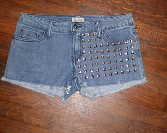 Denim Studded Shorts