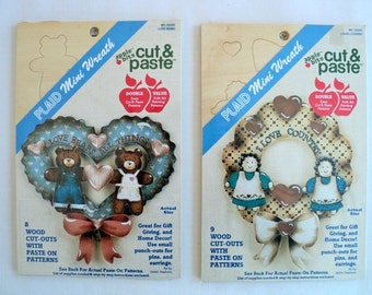 Unfinished Wood Cutouts - Mini Wreaths Cut & Paste Kits - Love Bears and I Love Country - Set of 2