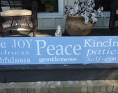 Fruit of the Spirit -Galatians 5 22 Love, Joy, Peace, Goodness, Faithfulness,Gentleness,Patience, 66 inches x 12 inches