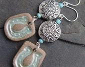In A Cowgirl Mood - Handmade Brown Stoneware Horseshoe Charms, Silver Sun Beads Earrings - Boho, Western, Cowgirl