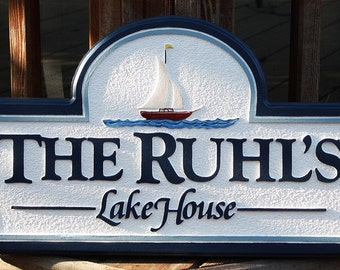 Custom Lake House Sign Housewares Sign Welcome home decor sign plaque wall hanging custom sign name sign wall decor personal sign cabin sign