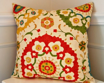 Suzani Decorative Pillow Cover, Red Throw Pillow, Green Throw Pillow, Red Cushion Cover, 18x18 Throw Pillow, Green Cushion Cover