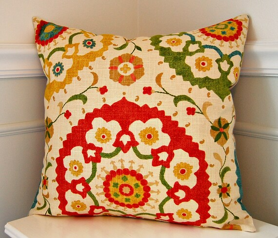 Suzani Decorative Pillow Cover Red Throw Pillow Green Throw