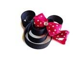Mouse Ribbon sculpture hair clip, baby hairclip, girl hairclip, party favors, princess party.