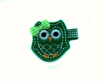 Green OWL Felt hair clip / baby hair clip / girl hair clip / barrette ..