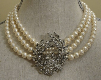 Bridal Pearl Necklace Set with Brooch 3 multi strands Swarovski Pearls in your choice of color and Rhinestone Brooch focal wedding jewelry