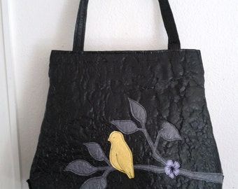 Black Fused Plastic Purse with Bird Applique
