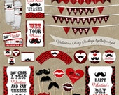 Valentines Day Mustache Bash Party Package - Decorations Favors - DIY digital file INSTANT DOWNLOAD
