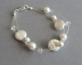 Ivory Freshwater Pearl Bracelet - White Bridal Jewelry - Floating Pearl Bracelet - Bridesmaids Jewellery