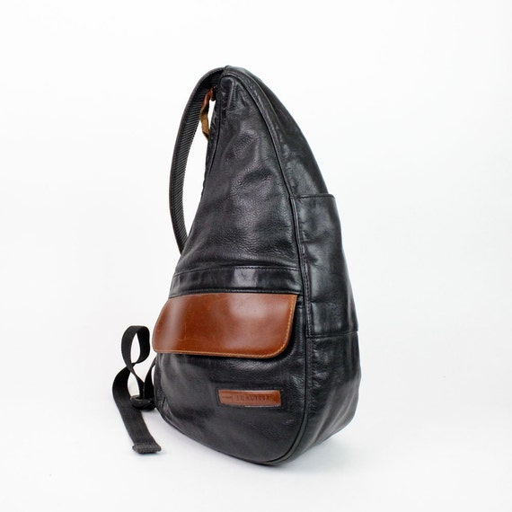Black Leather Sling Backpack Ll Bean One Shoulder Saddle
