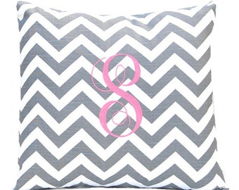 Monogrammed Pillow - Chevron Pillow Cover - Monogram With Insert - 20 x 20 - Personalized Gift - Nursery Decor - House Warming Gift