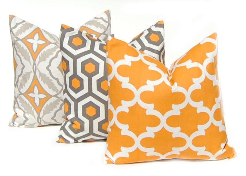 Decorative Pillows With Orange : Fall Decor Orange Pillows Decorative Throw Pillow Covers