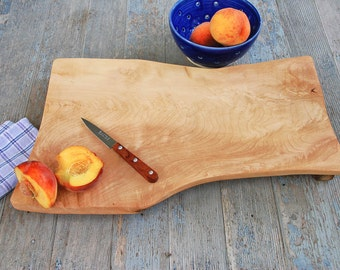 Wood Cutting Board Maple Serving Tray Live Edge Footed Bread Board